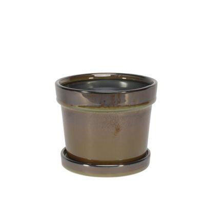Painted TC Pot with Saucer Vintage Brown-Stoneware (13x11cm)