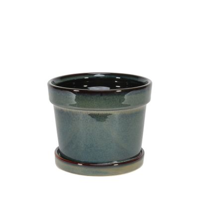 Painted TC Pot with Saucer Vintage Green-Stoneware (13x11cm)