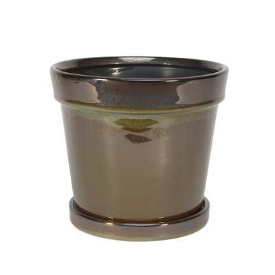 Painted TC Pot with Saucer Vintage Brown-Stoneware (17x15cm)