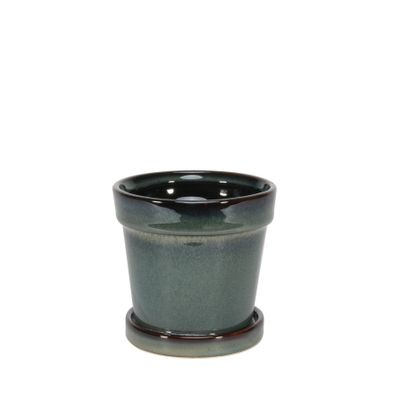 Painted TC Pot with Saucer Vintage Green-Stoneware (10x10cm)