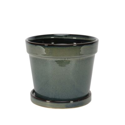 Painted TC Pot with Saucer Vintage Green-Stoneware (15x13cm)