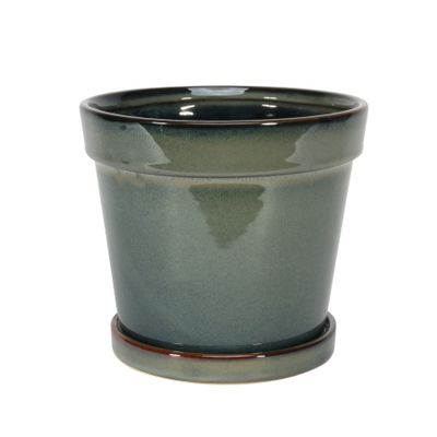 Painted TC Pot with Saucer Vintage Green-Stoneware (17x15cm)