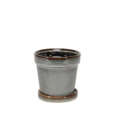 Painted TC Pot with Saucer Vintage Blue-Stoneware (10x10cm)