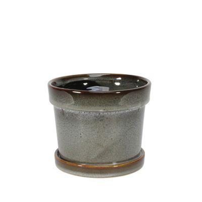 Painted TC Pot with Saucer Vintage Blue-Stoneware (13x11cm)