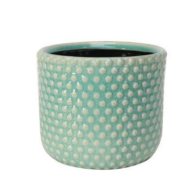 Painted Turquoise Pot with Debossed Dots - Stoneware (17x15cm)