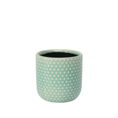 Painted Turquoise Pot with Debossed Dots - Stoneware (10x10cm)