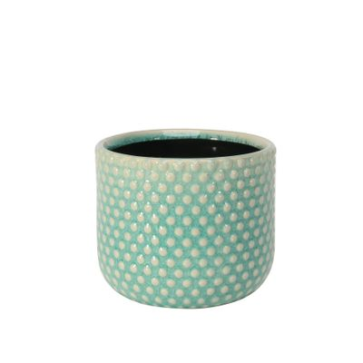 Painted Turquoise Pot with Debossed Dots - Stoneware (13x11cm)