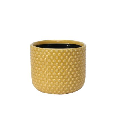 Painted Yellow Pot with Debossed Dots - Stoneware (13x11cm)