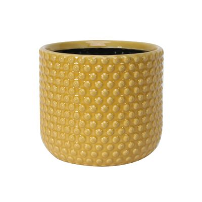 Painted Yellow Pot with Debossed Dots - Stoneware (17x15cm)
