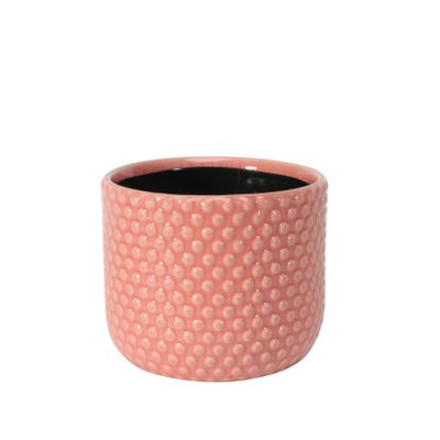 Painted Pink Pot with Debossed Dots - Stoneware (13x11cm)