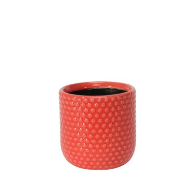 Painted Red Pot with Debossed Dots - Stoneware (10x10cm)