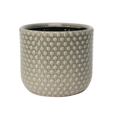 Painted Grey Pot with Debossed Dots - Stoneware (17x15cm)