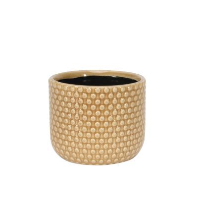 Painted Light Brown Pot with Debossed Dots - Stoneware (13x11cm)