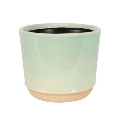 Two-Tone Green / Cream Pot - Stoneware (13x11cm)