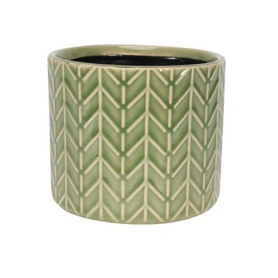 Painted Sage Green Green Pot with Zig-Zag - Stoneware (13x11cm)