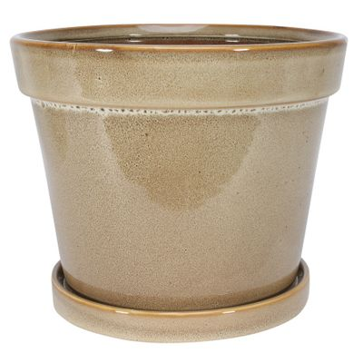 Painted TC Pot with Saucer Light Brown  -Stoneware (17x15cm)