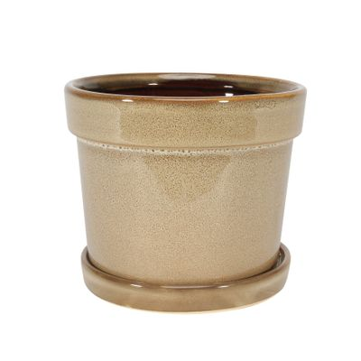 Painted TC Pot with Saucer Light Brown -Stoneware (13x11cm)