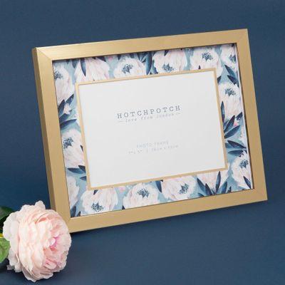 "7"" x 5"" - Swan Lake Gold & Blue Floral Photo Frame"