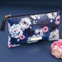 Swan Lake Blue Floral Leatherette Cosmetic Bag