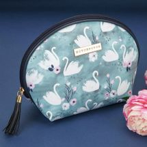 Swan Lake Blue Leatherette Cosmetic Bag