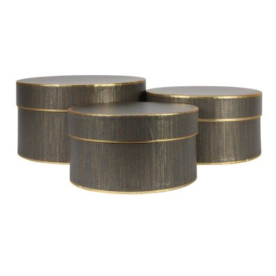 Set of 3 Grey Hat Boxes with Gold Trim
