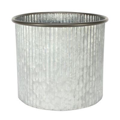 Ribbed Zinc Planter (23x19cm)