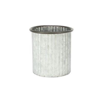 Ribbed Zinc Planter (12x12cm)