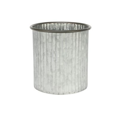 Ribbed Zinc Planter (15x15cm)