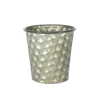 Conical Zinc Container W/Homeycomb Pattern (15x15cm)