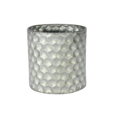 Cylinder Zinc Container W/Honeycomb Pattern (15x15cm)