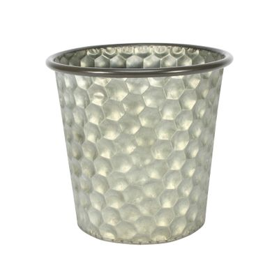 Conical Zinc Container W/Homeycomb Pattern (19x18cm)