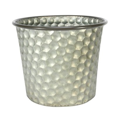 Conical Zinc Container W/Homeycomb Pattern (23x19cm)