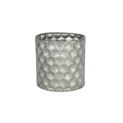 Cylinder Zinc Container W/Honeycomb Pattern (12x12cm)