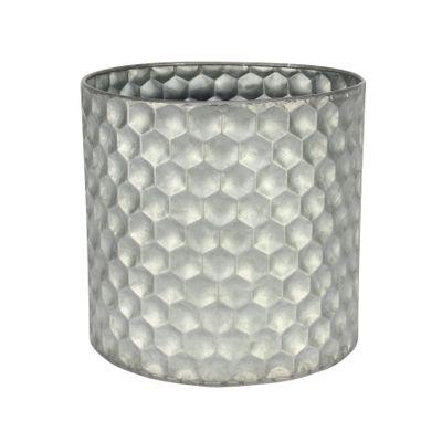 Cylinder Zinc Container W/Honeycomb Pattern (19x18cm)