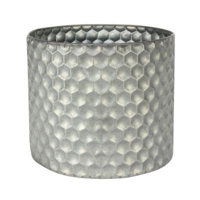 Cylinder Zinc Container W/Honeycomb Pattern (23x19cm)
