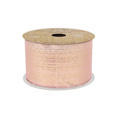 Rose Gold with Gold shimmer thread Ribbon 63mm x 10yds