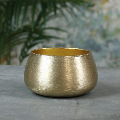 Hyde Park Brush Metal Pot Cover Medium Brushed Gold