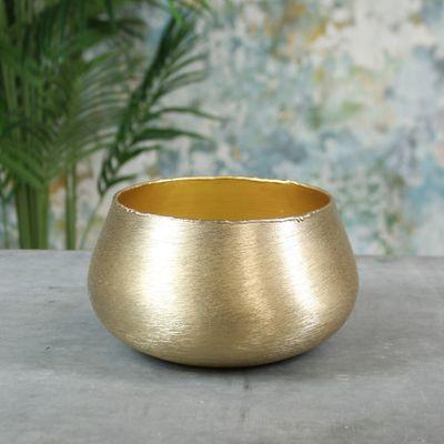 Hyde Park Brush Metal Pot Cover Large Brushed Gold