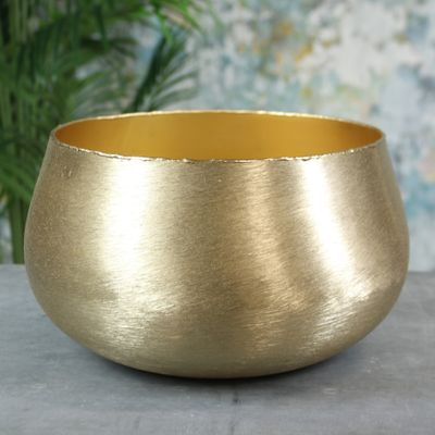 Hyde Park Brush Metal Pot Cover XX Large Brushed Gold