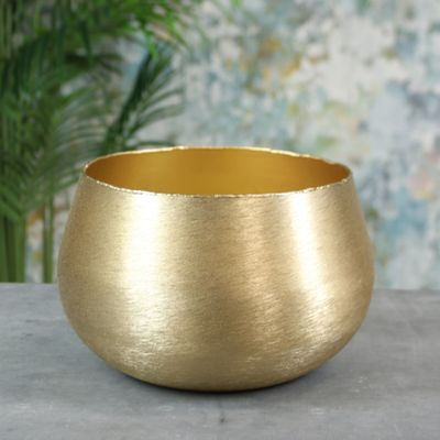 Hyde Park Brush Metal Pot Cover X Large Brushed Gold