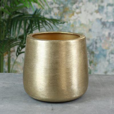 Greenwich Brushed Metal Planter Medium Brushed Gold