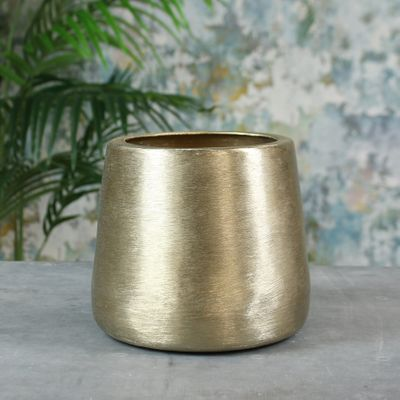 Greenwich Brushed Metal Planter Small Brushed Gold