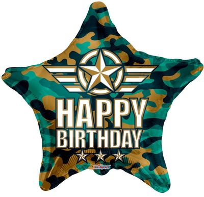 Eco Balloon - Birthday Camouflage (18 Inch)