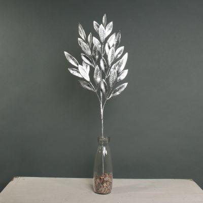 Metallic Laurel Leaf spray Silver