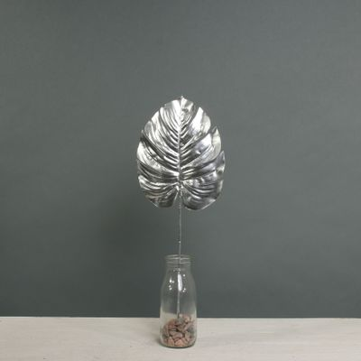 Metallic Monstera leaf sml Silver