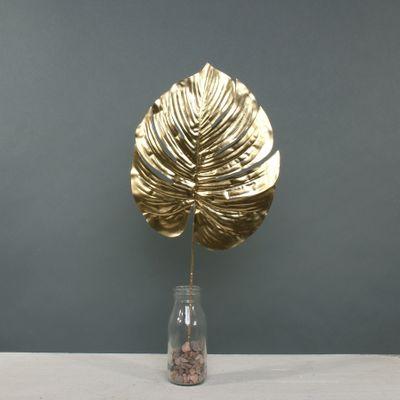 Metallic Monstera leaf Med Gold