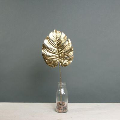 Metallic Monstera leaf sml Gold