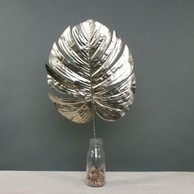 Metallic Monstera leaf Lrg Champagne