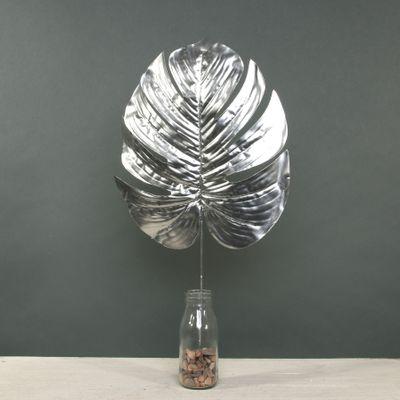 Metallic Monstera leaf Lrg Silver