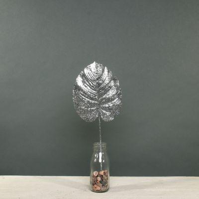 Glitter Monstera leaf sml Silver